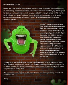 Ghostbuster Email 05 239x300 Ghostbusters subscribers rewarded with GitD Slimer figure